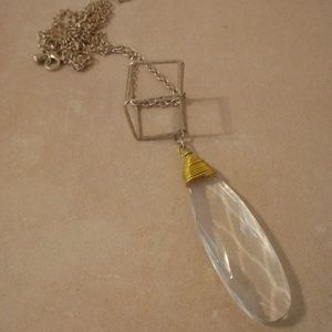 Canvas Crystal Geometric Long Necklace